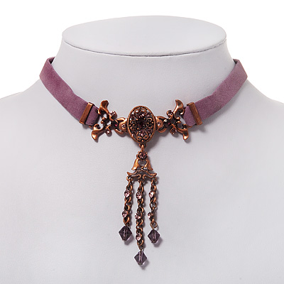 Victorian Lavender Suede Style Diamante Choker Necklace In Bronze Metal - 34cm Length with 5cm extension