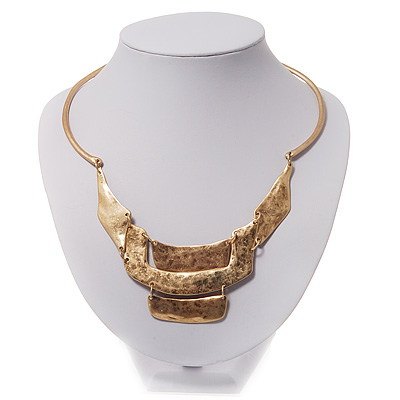 Gold Plated Hammered Bib Choker Necklace - 48cm Length