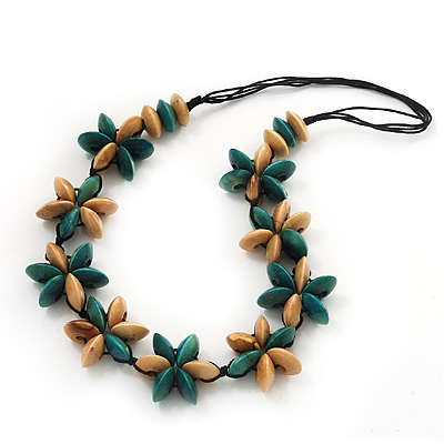 Beige/Teal Green Wooden Floral Cotton Cord Necklace - 70cm Length