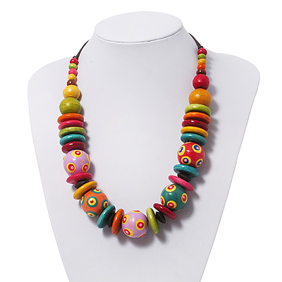 Chunky Multicoloured Wood Beaded Cotton Cord Necklace - 58cm Length
