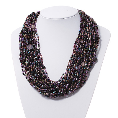 Chunky Multistrand Glass &amp; Ceramic Bead Necklace (Lavender/Purple/Black) - 42cm Length