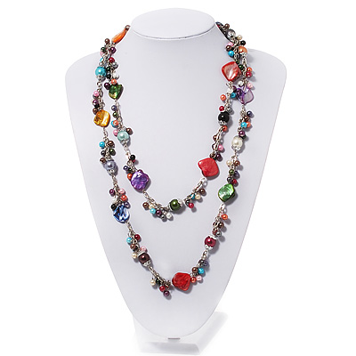 Multicoloured Shell & Pearl Style Bead Long Necklace - 140cm Length