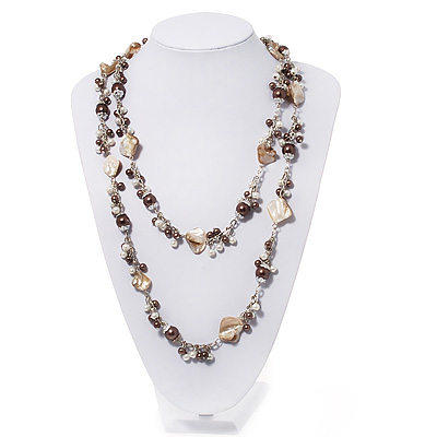 Antique White Shell & Brown Pearl Style Bead Long Necklace - 140cm Length