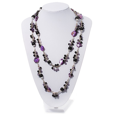 Purple Shell & Black Pearl Style Bead Long Necklace - 140cm Length
