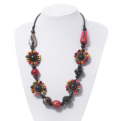Multicoloured Floral Bead Cotton Cord Necklace - 60cm Length