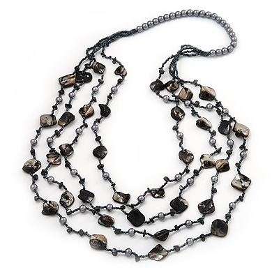 Long Multistrand Black Shell & Pearl Necklace - 96cm Length