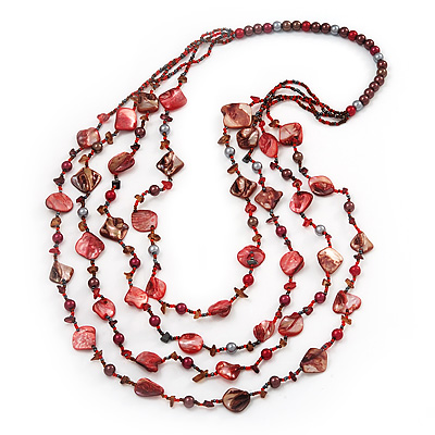 Long Multistrand Red Shell & Simulated Pearl Necklace - 96cm Length