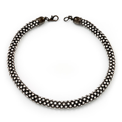 Austrian Clear Crystal Choker Necklace In Gun Metal Finish - 39cm Length