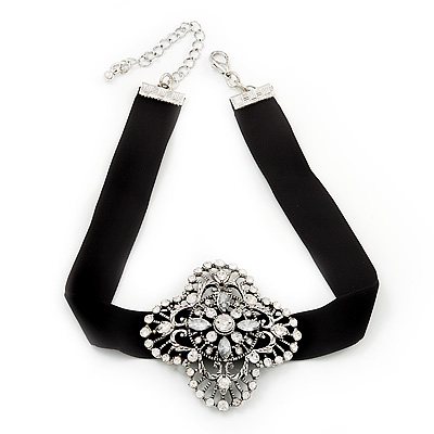 Black Velour Ribbon Diamante Filigree Cross Choker In Silver Tone Metal - 29cm Length (7cm extension) - main view