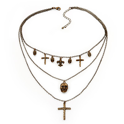 3-Strand 'Skull & Cross' Gothic Necklace In Bronze Tone Metal - 52cm Length (the longest strand)