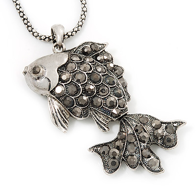 Vintage Crystal &#039;Fish&#039; Pendant Necklace In Burn Silver Metal - 40cm Length (6cm extender)