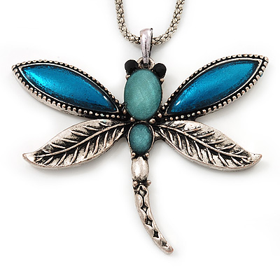 Teal Enamel Dragonfly Pendant Necklace In Burn Silver Metal - 38cm Length (6cm extender)