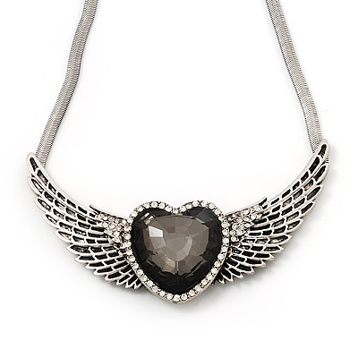 Vintage Diamante 'Heart & Wings' Rock & Roll Necklace In Burn Silver Metal - 34cm Length (6cm extender)