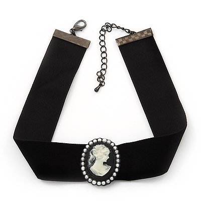 Black Velour Ribbon Pearl &#039;Cameo&#039; Choker Necklace - 30cm Length &amp; 8cm Extension