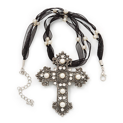 Large Victorian Filigree Pearl Style Crystal Cross Pendant On Black Organza Cord Necklace - 36cm Length &amp; 7cm Extension