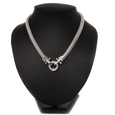 Rhodium Plated Mesh Necklace With Crystal Ring - 40cm Length - main view