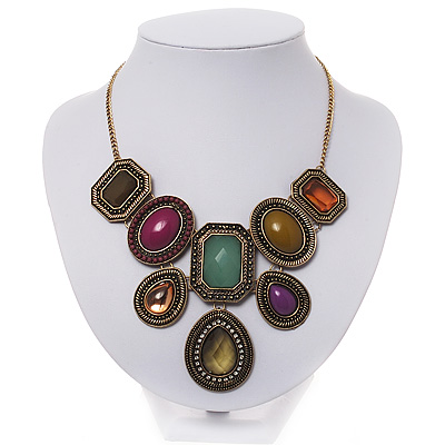 Vintage Mutlicoloured Jewelled &#039;Bib Style&#039; Necklace In Bronze Tone Metal - 36cm Length (5cm extension)