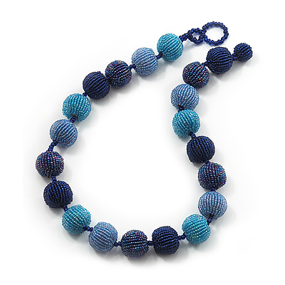 Chunky Navy Blue/Light Blue Glass Beaded Necklace - 56cm Length