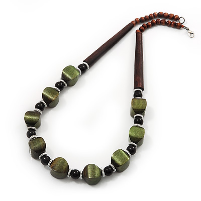 Olive Green/Brown Wood & Ceramic Beaded Necklace - 56cm Length