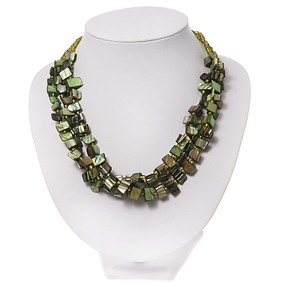 3 Strand Green Shell Composite Necklace - 44cm Length
