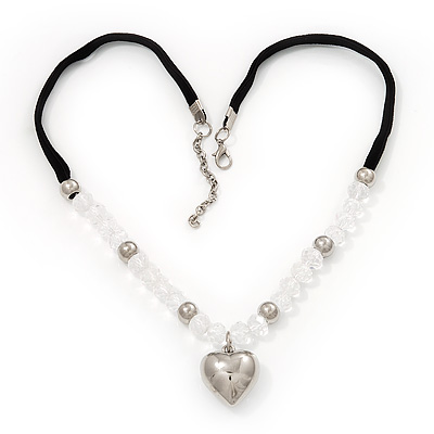 Transparent Glass/Metal Beaded &#039;Heart&#039; Pendant Necklace On Velour Ribbon - 46cm Length (with 5cm extension
