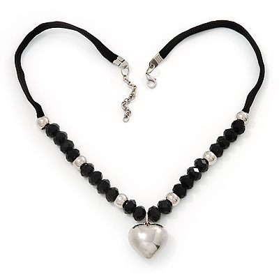 Black Glass/Metal Beaded &#039;Heart&#039; Pendant Necklace On Velour Ribbon - 46cm Length (with 5cm extension)