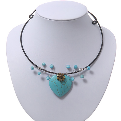 Romantic Turquoise Bead 'Heart' Flex Choker Necklace - Adjustable