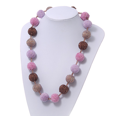 Chunky Pink/Lavender/Brown Glass Beaded Necklace - 56cm Length