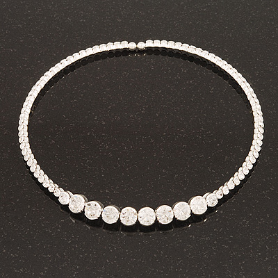 Clear Crystal Flex Choker Necklace In Silver Tone Finish - Adjustable