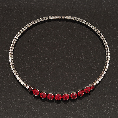 Clear/Ruby Red Crystal Flex Choker Necklace In Gun Metal Finish - Adjustable