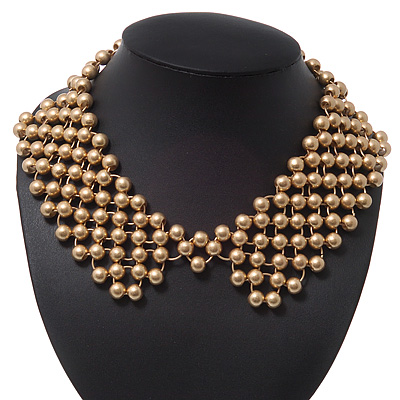 'French Collar' Beaded Choker Necklace In Matt Gold Finish - 38cm Length/ 7cm Extension