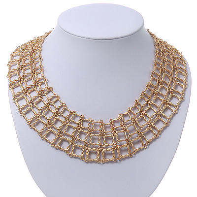 Regal &#039;Armour Style&#039; Collar Necklace In Brushed Gold Finish - 40cm Length/ 7cm Extension