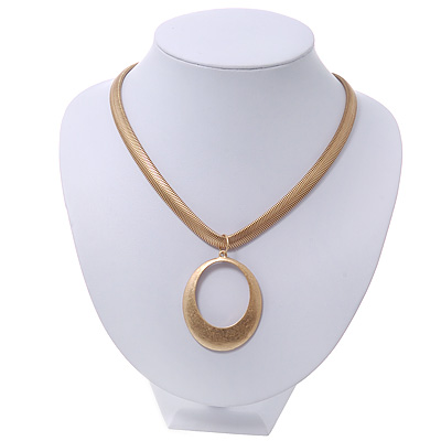 Brushed Gold Plated 'Oval' Pendant Necklace - 40cm Length/ 7cm Extension
