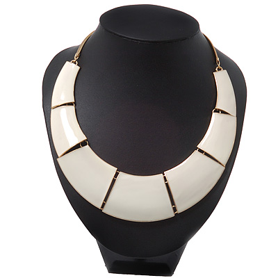 Light Cream Enamel Egyptian Bib Style Choker Necklace In Gold Plating - 38cm Length /7cm Extension