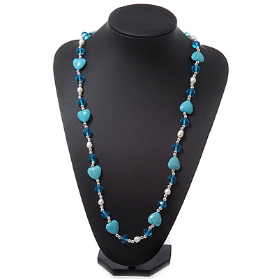 Turquoise Style &#039;Heart&#039;, Freshwater Pearl &amp; Acrylic Bead Long Necklace - 76cm Length