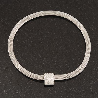 Unique Mesh Diamante Magnetic Choker Necklace In Silver Finish - 40cm Length