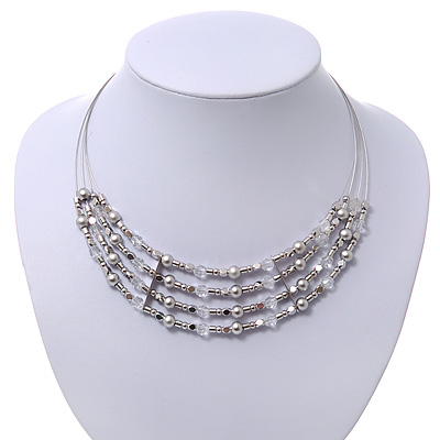 Rhodium Plated 4 Strand Beaded Magnetic Choker Necklace - 34cm Length