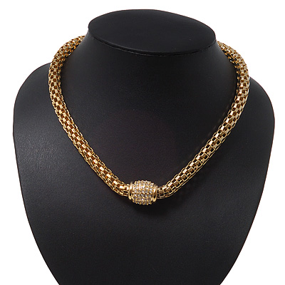 Stylish Mesh Diamante Magnetic Choker Necklace In Gold Plated Metal - 38cm Length