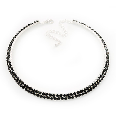 2-Row Jet Black Swarovski Crystal Choker Necklace (Silver Plated)