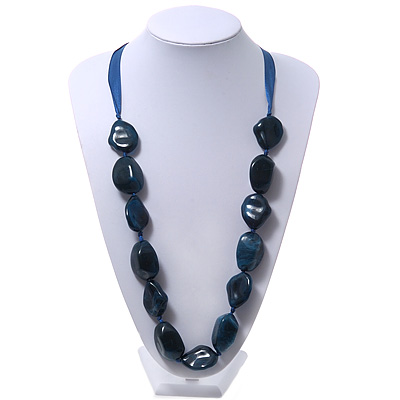 Long Chunky Dark Blue Resin Nugget Necklace With Silk Ribbon - Adjustable