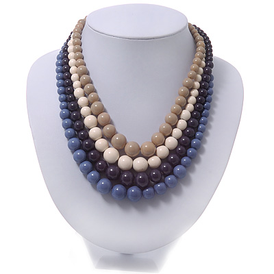 4 Strand Blue/Purple/Cream/Beige Graduated Acrylic Bead Necklace - 40cm Length/ 7cm Extension