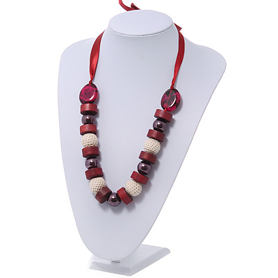 Chunky Burgundy Wood, Glass &amp; Fabric Bead Necklace On Silk Ribbon - Adjustable