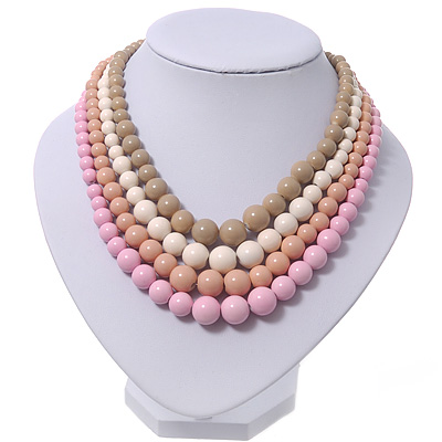 4 Strand Pink/Magnolia/White/Beige Graduated Acrylic Bead Necklace - 40cm Length/ 7cm Extension