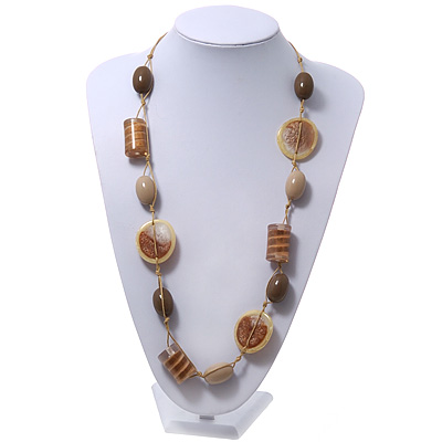 Long Resin Beige/Coffee Geometric Bead Cord Necklace - 94cm Length