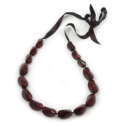 Long Chunky Burgundy Resin Nugget Necklace With Black Ribbon - Adjustable