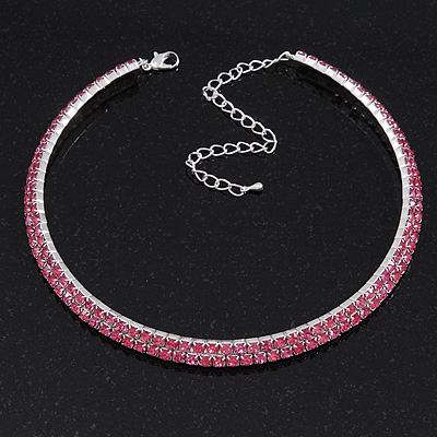 2-Row Pink Swarovski Crystal Choker Necklace (Silver Plated)