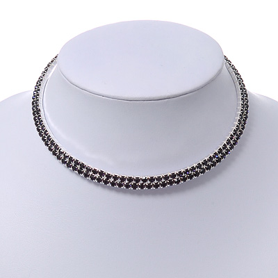 2-Row Montana Blue Austiran Crystal Choker Necklace (Silver Plated)
