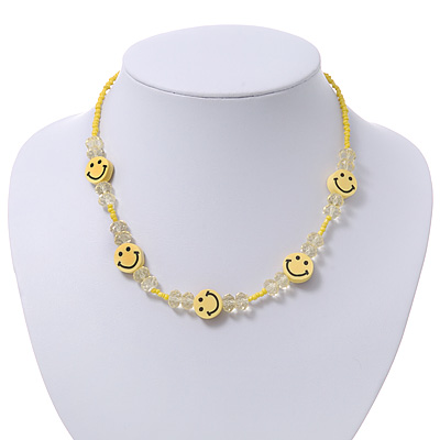 Children&#039;s Bright Yellow &#039;Happy Face&#039; Necklace - 36cm Length/ 4cm Extension
