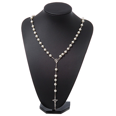 Long White Glass Pearl Cross Rosary Necklace - 80cm Length