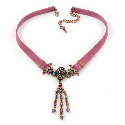 Victorian Purple Suede Style Diamante Choker Necklace In Bronze Metal - 34cm Length with 7cm extension